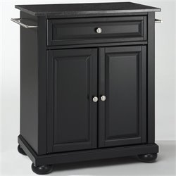 Pemberly Row Solid Black Granite Top Kitchen Island