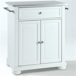 Pemberly Row Stainless Steel Top White Kitchen Island