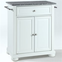 Pemberly Row Solid Granite Top Kitchen Island in White