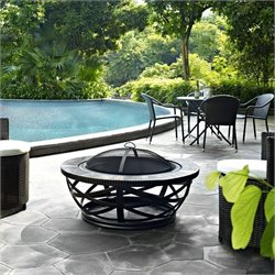 Pemberly Row Round Slate Firepit in Black