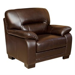 Pemberly Row Leather Club Arm Chair in Brown