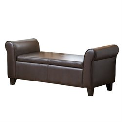 Pemberly Row Leather Storage Ottoman Bench in Dark Brown
