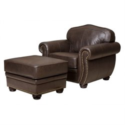 Pemberly Row Leather Club Arm Chair with Ottoman in Brown