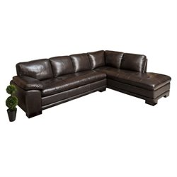 Pemberly Row 2 Piece Leather Sectional in Dark Brown