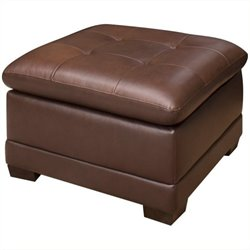 Pemberly Row Square Leather Ottoman in Brown
