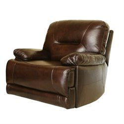Pemberly Row Power Reclining Leather Arm Chair in Brown