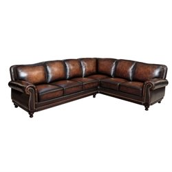 Pemberly Row Leather Sectional in Brown