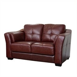 Pemberly Row Leather Loveseat in Burgundy