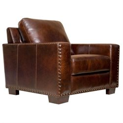 Pemberly Row Leather Arm Chair in Espresso