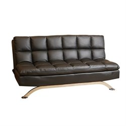 Pemberly Row Leather Convertible Sofa in Black