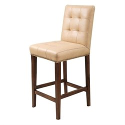 Pemberly Row Pedersen Leather Counter Stool in Camel