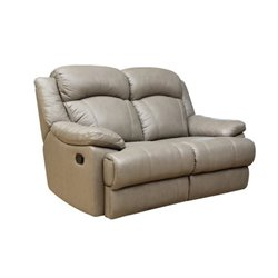 Pemberly Row Leather Reclining Loveseat in Grey
