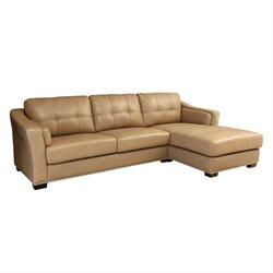 Pemberly Row Leather Sectional in Beige
