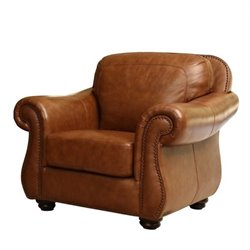 Pemberly Row Leather Accent Chair in Camel Brown