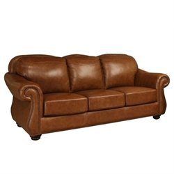 Pemberly Row Leather Sofa in Camel Brown