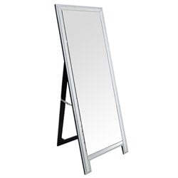 Pemberly Row Studded Leaning Floor Mirror in Silver