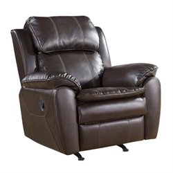 Pemberly Row Leather Rocker Recliner Chair in Dark Brown
