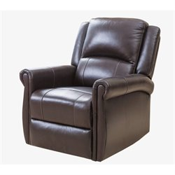 Pemberly Row Elena Swivel Glider Recliner Chair in Dark Brown