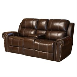 Pemberly Row Leather Reclining Loveseat in Brown