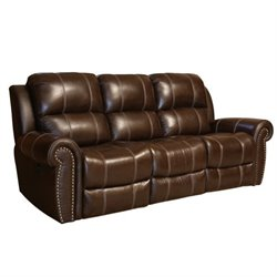 Pemberly Row Leather Power Reclining Sofa in Brown