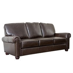 Pemberly Row Leather Sofa in Brown