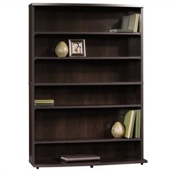 Pemberly Row 6 Shelf Multimedia Bookcase in Cinnamon Cherry