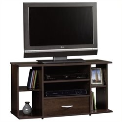 Pemberly Row Panel TV Stand in Cinnamon Cherry