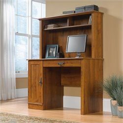 Pemberly Row Wood Computer Desk with Hutch in Abbey Oak