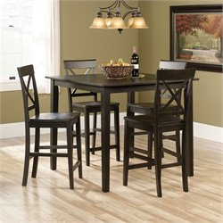 Pemberly Row 5 Piece Counter Height Set in Brown