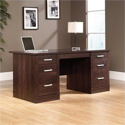 Pemberly Row Executive Computer Desk in Dark Alder