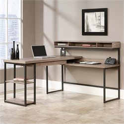 Pemberly Row L Shaped Computer Desk in Salt Oak