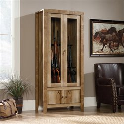 Pemberly Row Gun Display Cabinet in Craftsman Oak