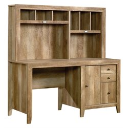Pemberly Row Computer Desk with Hutch in Craftsman Oak