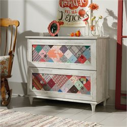 Pemberly Row 2 Drawer Accent Chest in White Plank