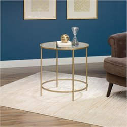 Pemberly Row Round End Table in Satin Gold
