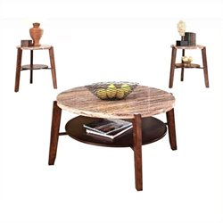 Pemberly Row 3 Piece Round Marble Top Coffee Table Set