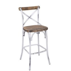 Pemberly Row Bar Stool in Walnut and Antique White