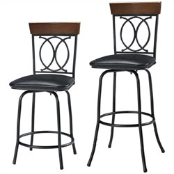 Pemberly Row Adjustable Bar Stool in Brown (Set of 3)