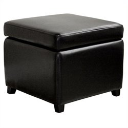 MER-992 Square Leather Storage Ottoman