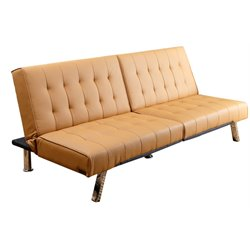 Pemberly Row Faux Leather Convertible Sleeper Sofa in Camel