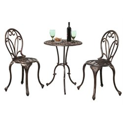 Pemberly Row 3 Piece Patio Bistro Set in Copper