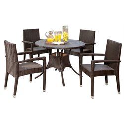 Pemberly Row 5 Piece Round Patio Dining Set in Espresso