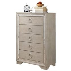 Pemberly Row 5 Drawer Mirrored Chest in Gray