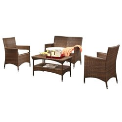 Pemberly Row 4 Piece Patio Sofa Set in Beige