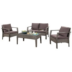 Pemberly Row 4 Piece Patio Sofa Set in Gray