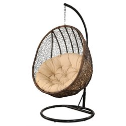 Pemberly Row Patio Swing Chair in Espresso