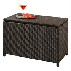 Pemberly Row Patio Storage Ottoman in Espresso