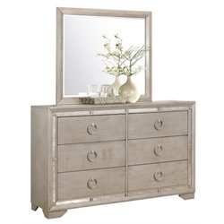 Pemberly Row 6 Drawer Dresser and Mirror Set in Gray