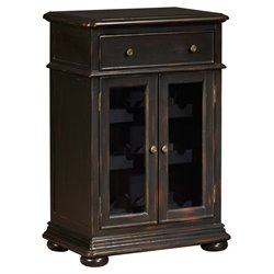 Pemberly Row Double Door Wine Cabinet in Distressed Black