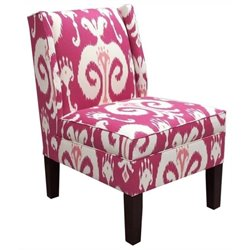 Pemberly Row Cotton Wingback Accent Chair in Raspberry Red